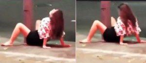 Viral, Seperti Adegan Seks Gadis Cantik Kangkangi Tiang Listrik