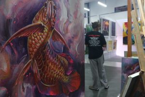 Lukisan Ikan Arwana Di Sunrise Mall Mojokerto