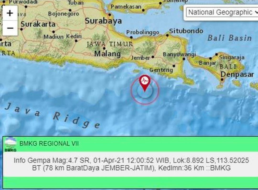 Jember Diguncang Gempa Dengan Kekuatan 4,8 Magnitudo
