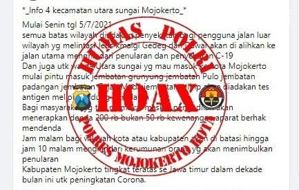 Masuk Kota Mojokerto Wajib Tes Antigen Ternyata Hoax