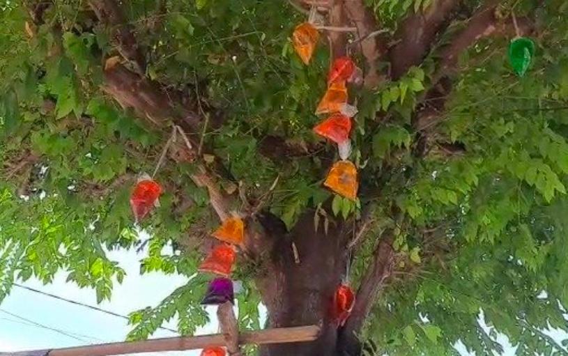 Tolak Pagebluk Warga Mojokerto Ramai Ramai Menggantung Air warna-warni di Depan Rumah