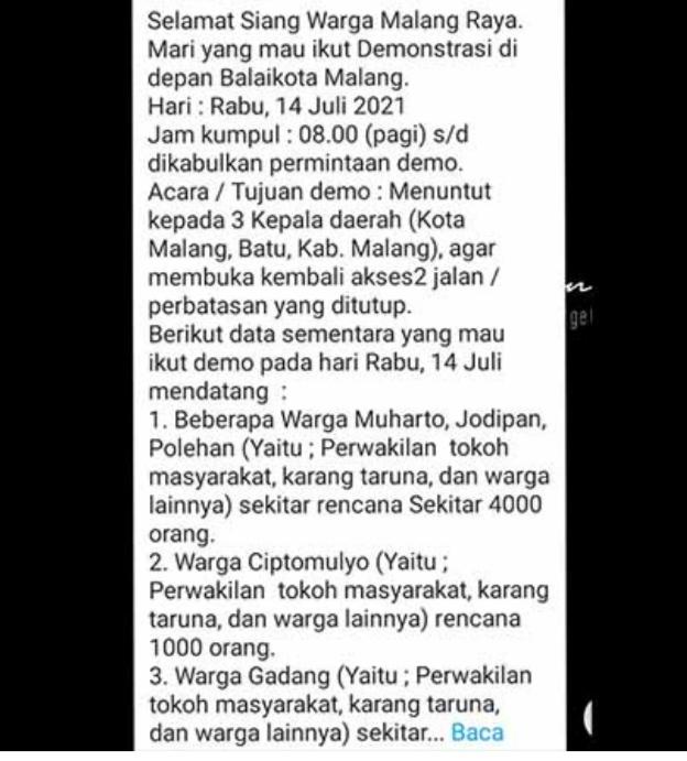 Waspada Info Hoaks Pesan Berantai Demo Penyekatan 14 Juli di Malang