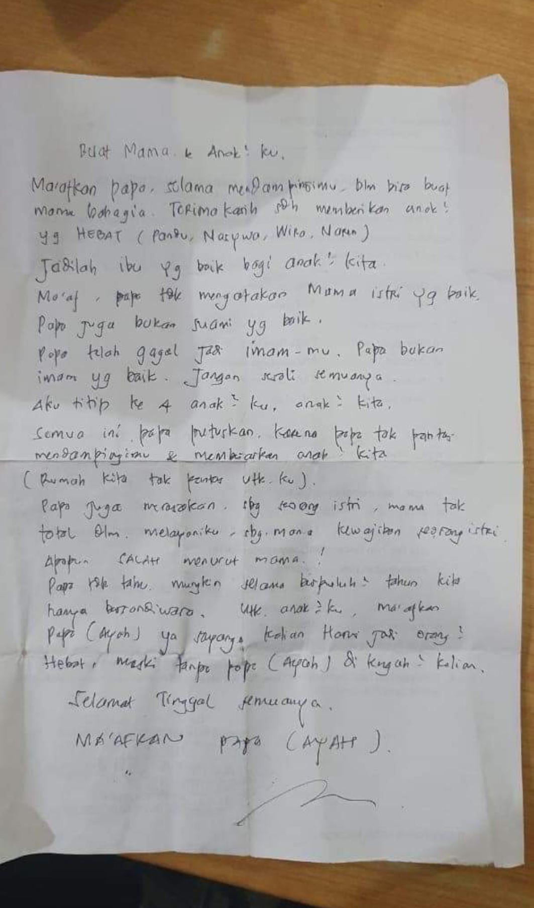 Surat wasiat Pemotor Bunuh diri Di Jembatan Suramadu
