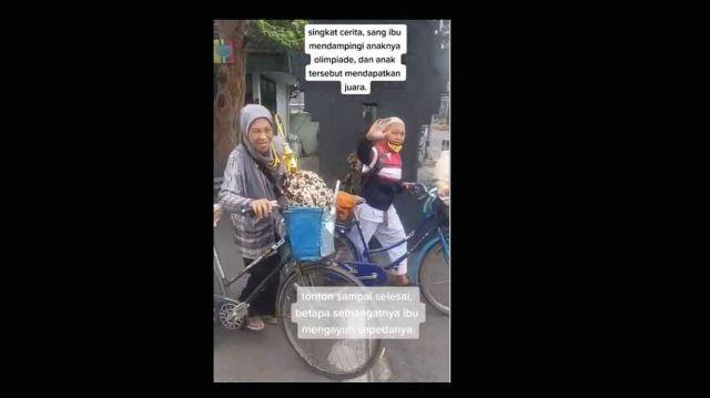 Perjuangan Ibu di Malang Rela Mengayuh Sepeda Antarkan Buah Hatinya Mengikuti Olimpiade Karate Bikin Haru