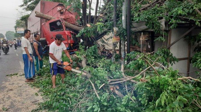 Truk Tabrak Pohon di Mojokerto